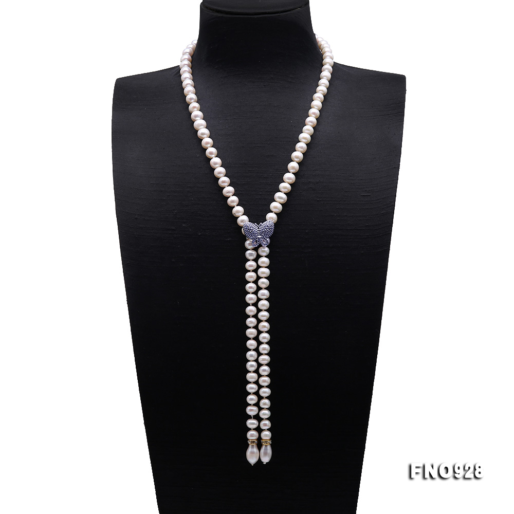 Graceful 9-10mm White Pearl Adjustable Long Necklace big Image 1
