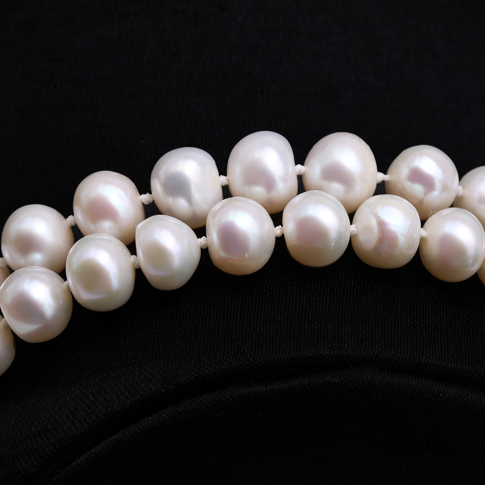 Graceful 9-10mm White Pearl Adjustable Long Necklace big Image 3