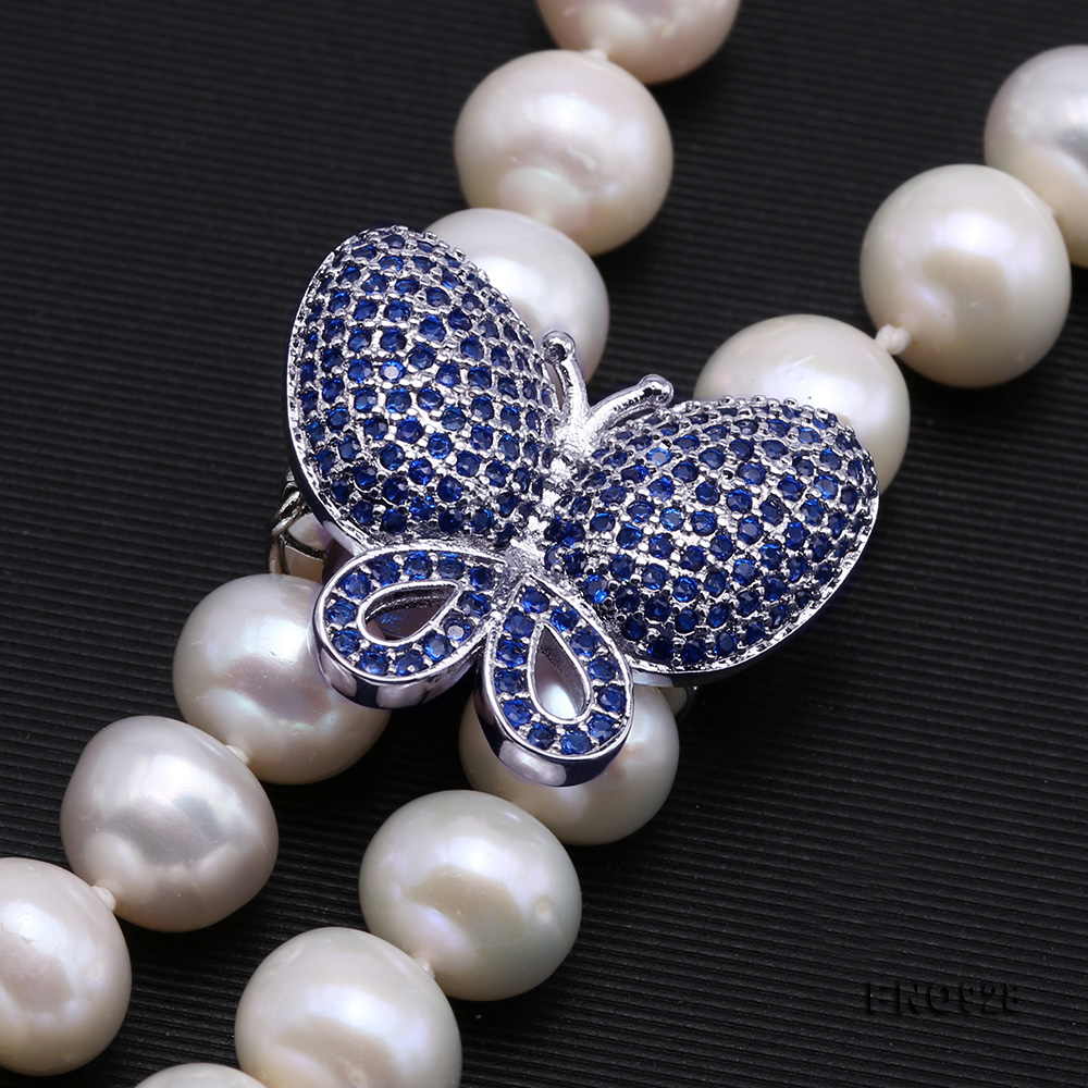 Graceful 9-10mm White Pearl Adjustable Long Necklace big Image 4