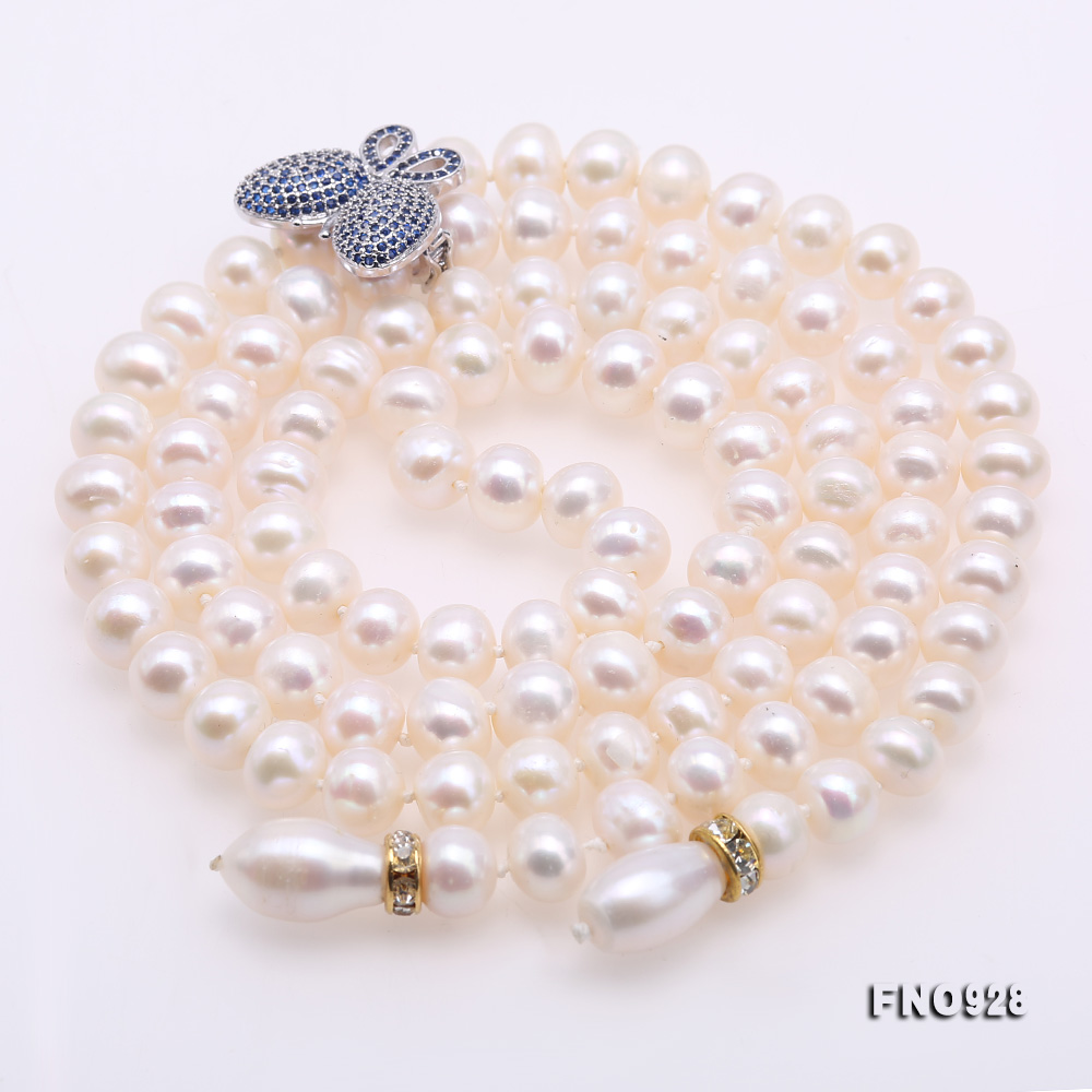 Graceful 9-10mm White Pearl Adjustable Long Necklace big Image 6