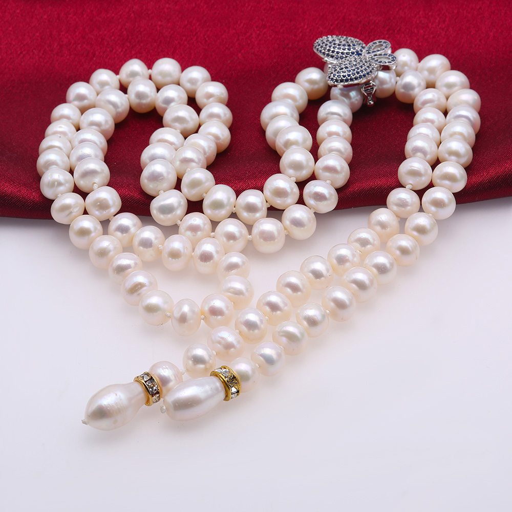 Graceful 9-10mm White Pearl Adjustable Long Necklace big Image 7