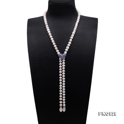 Graceful 9-10mm White Pearl Adjustable Long Necklace FNO928 Image 1