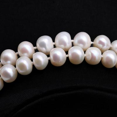 Graceful 9-10mm White Pearl Adjustable Long Necklace FNO928 Image 3