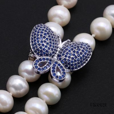 Graceful 9-10mm White Pearl Adjustable Long Necklace FNO928 Image 4
