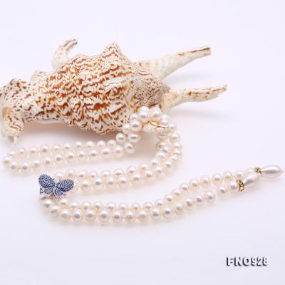 Graceful 9-10mm White Pearl Adjustable Long Necklace FNO928 Image 5