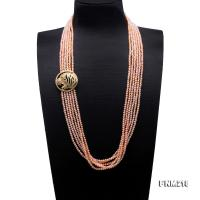 Classical Six-Strand 4-4.5mm Pink Pearl Necklace FNM218