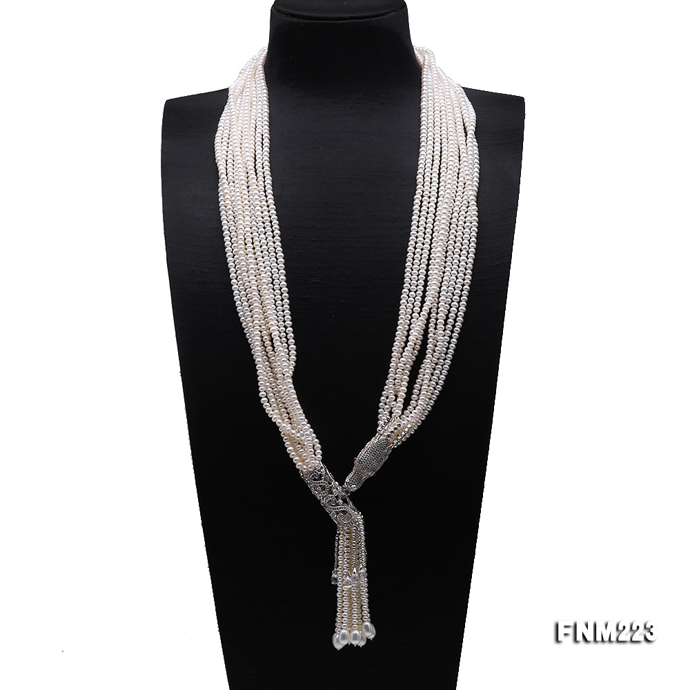 Classical Ten-Strand 4-4.5mm White Pearl Necklace big Image 1