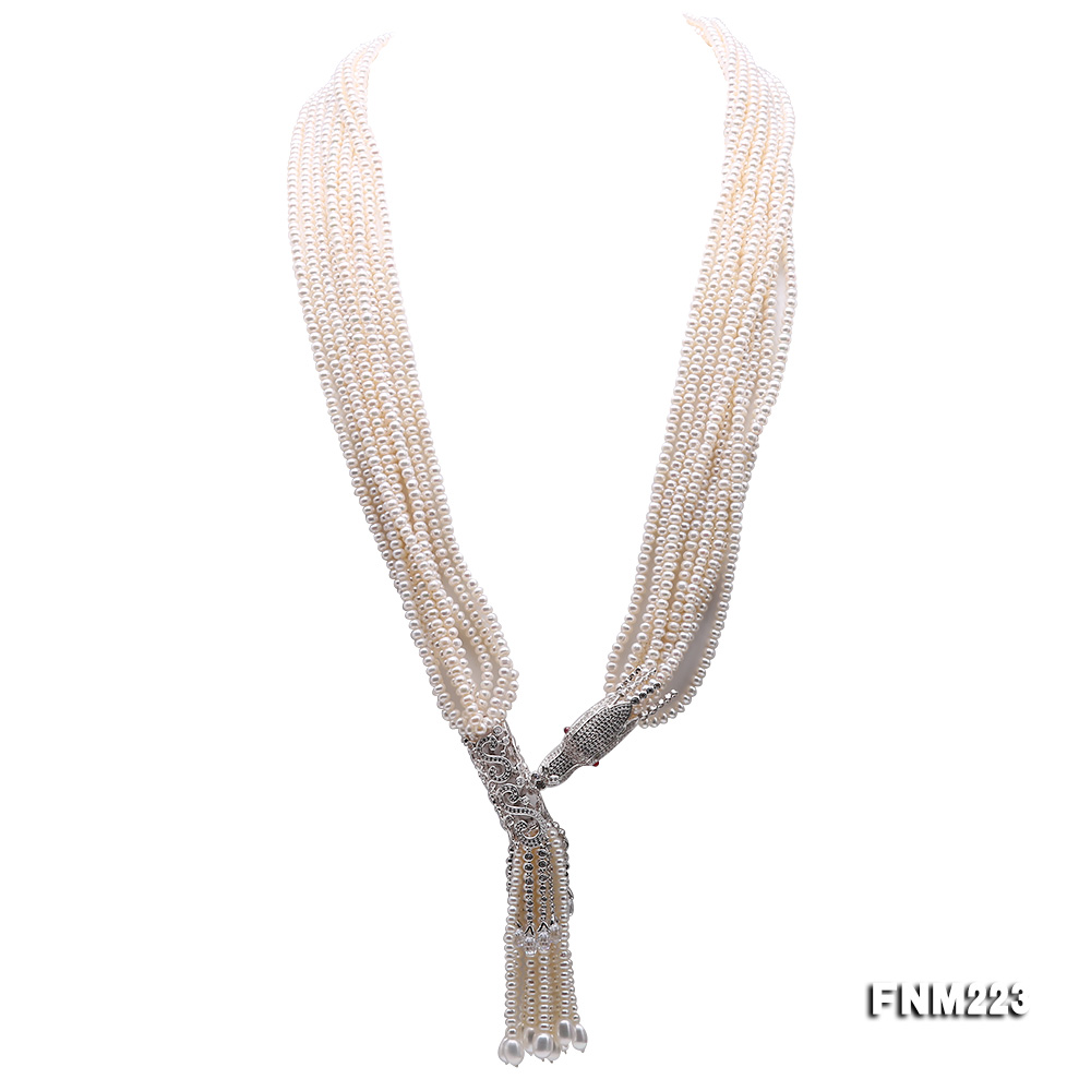 Classical Ten-Strand 4-4.5mm White Pearl Necklace big Image 7