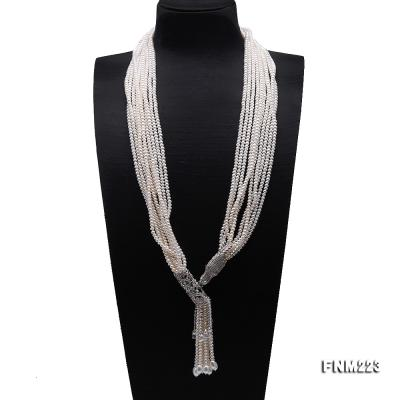 Classical Ten-Strand 4-4.5mm White Pearl Necklace FNM223 Image 1