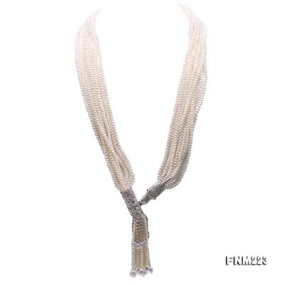 Classical Ten-Strand 4-4.5mm White Pearl Necklace FNM223 Image 7
