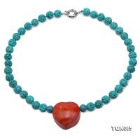 Pretty 10.5mm Carved Blue Turquoise Necklace With Coral Pendant TQN085