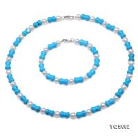 Pretty Blue Turquoise and White Pearl Necklace & Bracelet TQS002