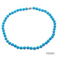 Beautiful 8.5mm Round Blue Turquoise Necklace TQN088