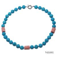 Pretty 11.5-12.5mm Carved Blue Turquoise Necklace  TQN092