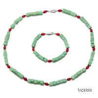 Beautiful 6x6.5mm Green Turquoise & Red Coral Necklace and Bracelet TQS003