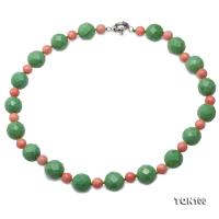 Pretty 15-16mm Green Faceted Turquoise Necklace  TQN100