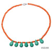 High Quality 5-5.5mm Orange Coral Necklace with Green Turquoise CNR103