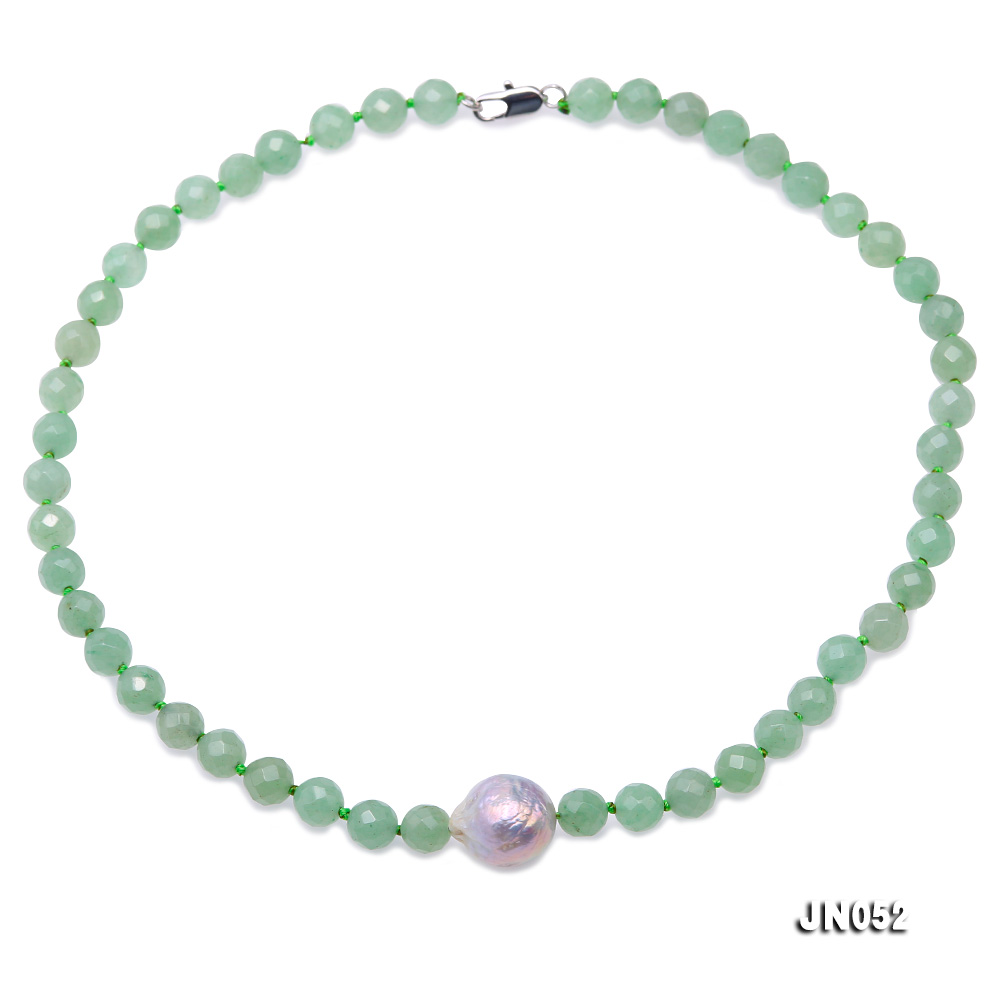 High Quality 8-8.5mm Faceted Green Aventurine Jade Necklace big Image 1