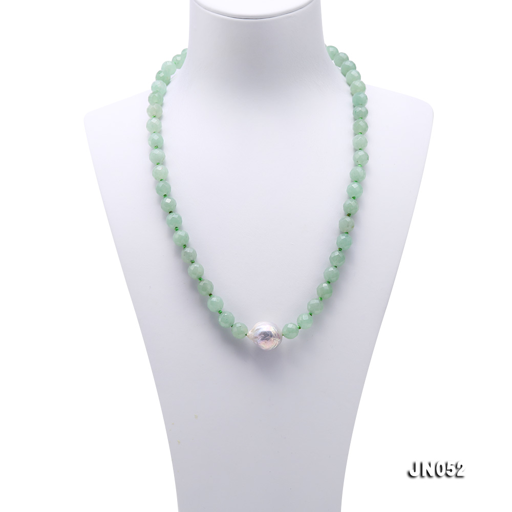 High Quality 8-8.5mm Faceted Green Aventurine Jade Necklace big Image 2