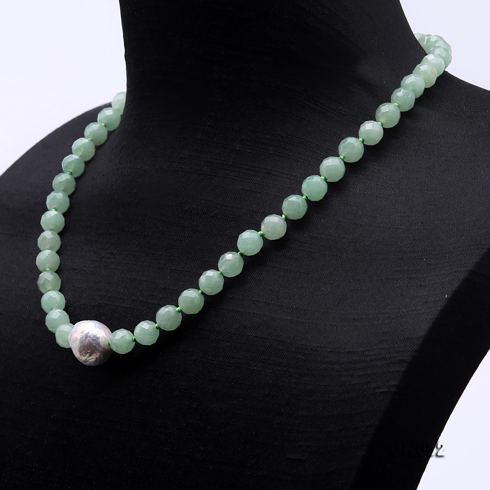High Quality 8-8.5mm Faceted Green Aventurine Jade Necklace big Image 3