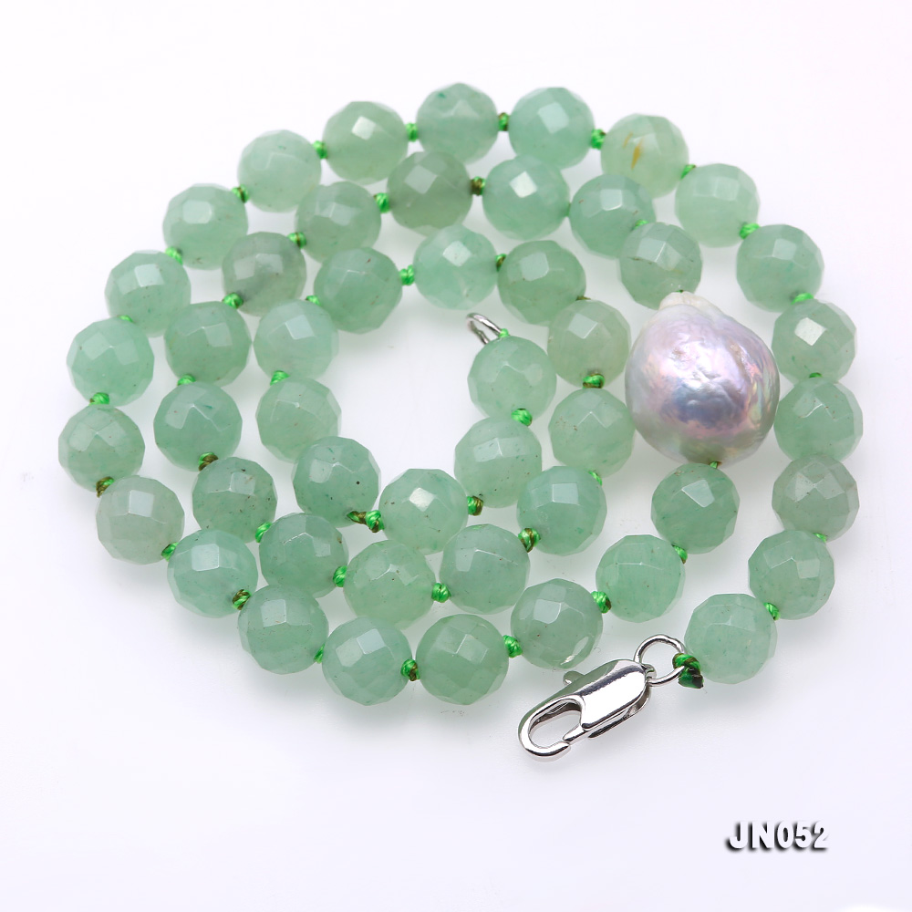 High Quality 8-8.5mm Faceted Green Aventurine Jade Necklace big Image 5