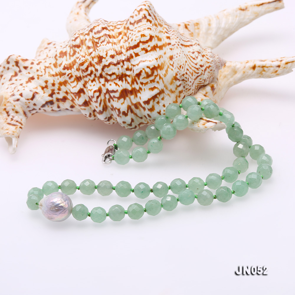 High Quality 8-8.5mm Faceted Green Aventurine Jade Necklace big Image 6