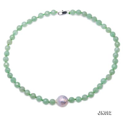 High Quality 8-8.5mm Faceted Green Aventurine Jade Necklace JN052 Image 1