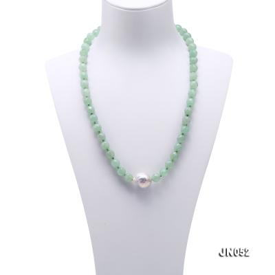 High Quality 8-8.5mm Faceted Green Aventurine Jade Necklace JN052 Image 2