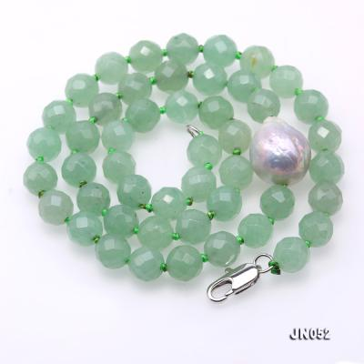 High Quality 8-8.5mm Faceted Green Aventurine Jade Necklace JN052 Image 5