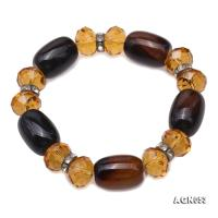 Natural Black Agate & Citrine Bracelet AGB053