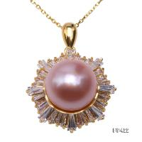 Exquisite Zircon-inlaid 11.5mm Lavender Freshwater Pearl Pendant in Sterling Silver FP422