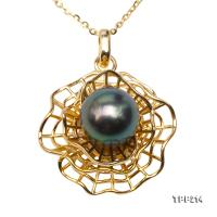 Mysterious 9.5mm Peacock Green Tahitian Pearl Pendant in 925 Sterling Silver TPP214