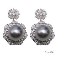 Delicate 11mm Gray Tahitian Pearl Earring with 925 Sterling Silver TPA078