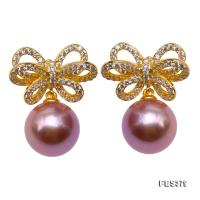 Lustrous 10mm Lavender Round Pearl Earrings in Sterling Silver FES379