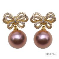 Lustrous 12mm Lavender Round Pearl Earrings in Sterling Silver FES379-1