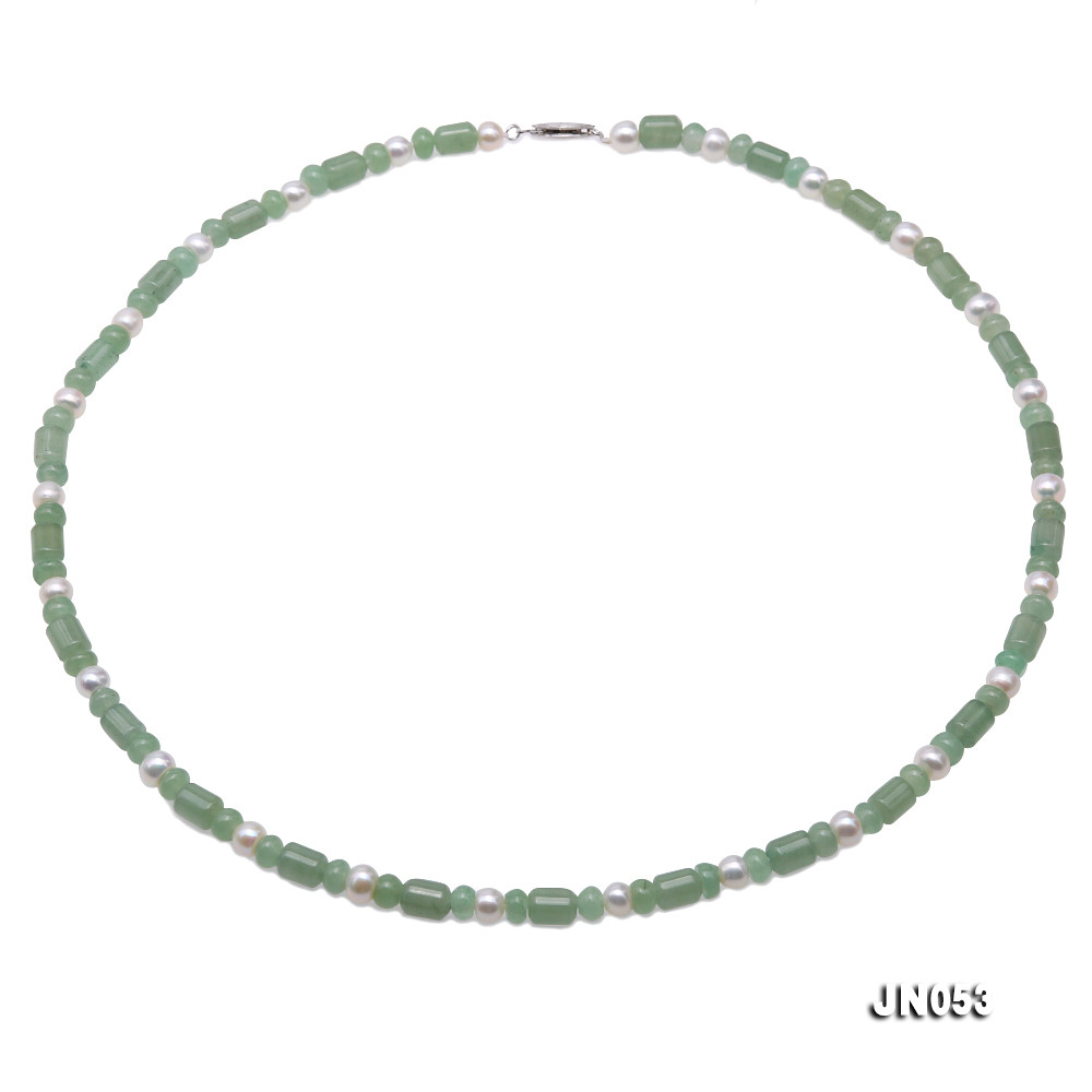 High Quality 6x7.5mm Green Aventurine Jade & Pearl Necklace big Image 1