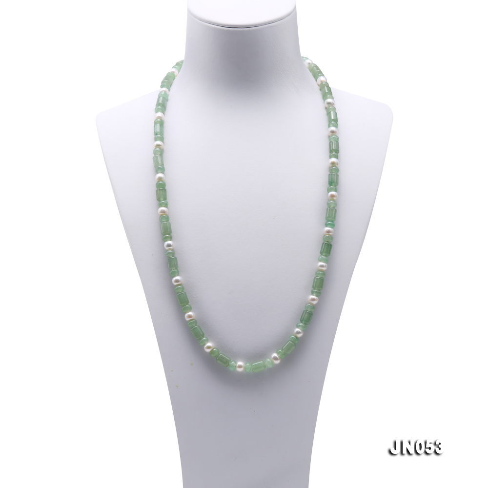 High Quality 6x7.5mm Green Aventurine Jade & Pearl Necklace big Image 2