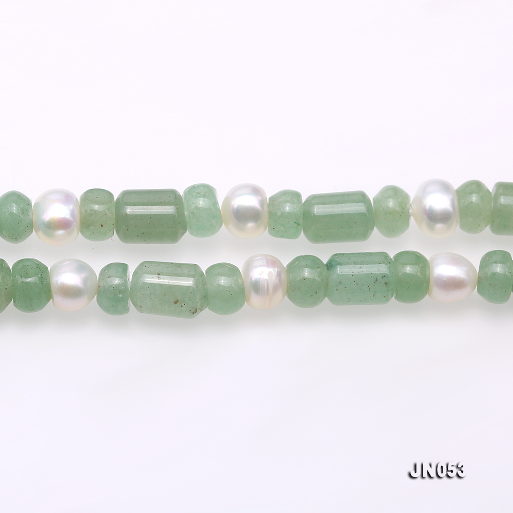 High Quality 6x7.5mm Green Aventurine Jade & Pearl Necklace big Image 3