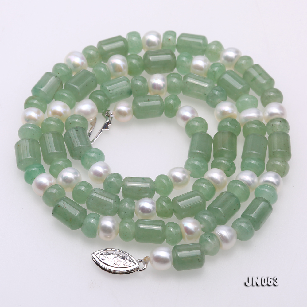High Quality 6x7.5mm Green Aventurine Jade & Pearl Necklace big Image 4