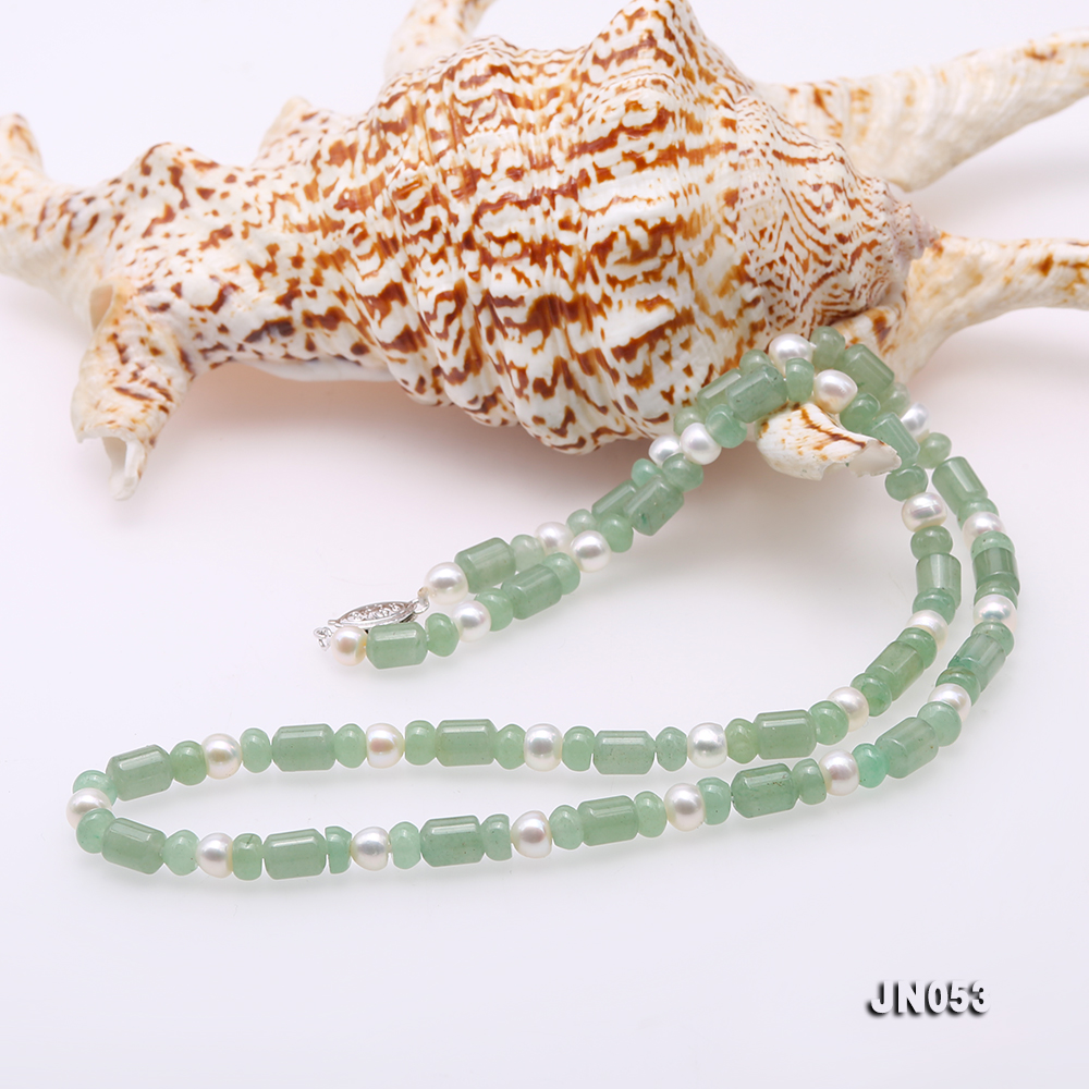 High Quality 6x7.5mm Green Aventurine Jade & Pearl Necklace big Image 5