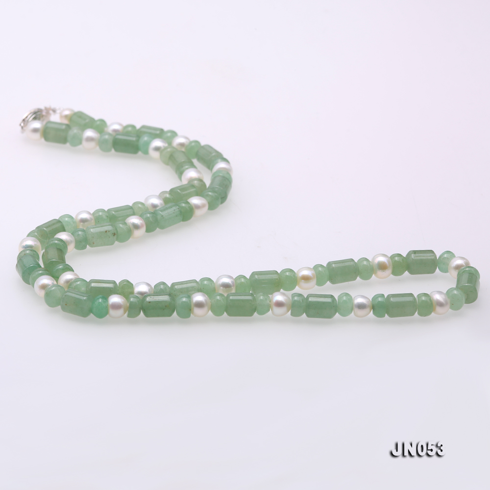 High Quality 6x7.5mm Green Aventurine Jade & Pearl Necklace big Image 6