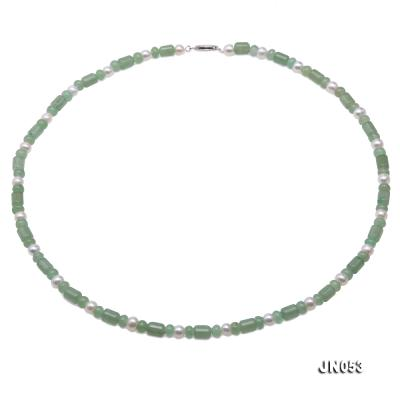 High Quality 6x7.5mm Green Aventurine Jade & Pearl Necklace JN053 Image 1
