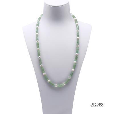 High Quality 6x7.5mm Green Aventurine Jade & Pearl Necklace JN053 Image 2