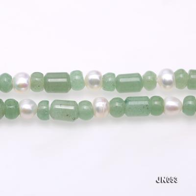 High Quality 6x7.5mm Green Aventurine Jade & Pearl Necklace JN053 Image 3