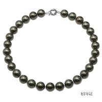 Classical 14mm Dark Green Round South Seashell Pearl Necklace  SP542
