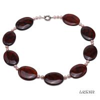 Beautiful Oval 30x40mm Natural Agate Necklace AGN180