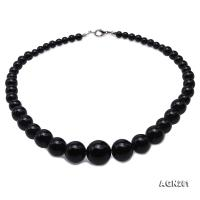 Quality 6.5-18mm Gradual Black Agate Necklace AGN281
