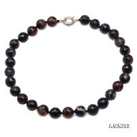 High Quality 14mm Faceted Black Agate Necklace AGN283