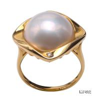 Gorgeous 14mm White Mabe Pearl Ring in 18k Gold MP052