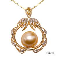 Luxurious 13mm Golden Round South Sea Pearl Pendant in 14k Gold SPP254